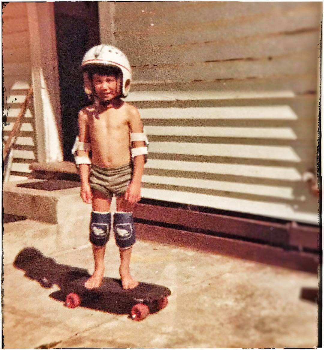 Sk8 or die! My old man made this board from roller skate wheels & some flooring. 1982 was so rad #1982